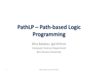 PathLP  – Path-based Logic Programming