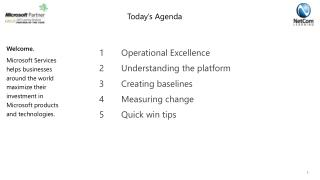 1	Operational Excellence 2	Understanding the platform 3	Creating baselines 4 	Measuring change