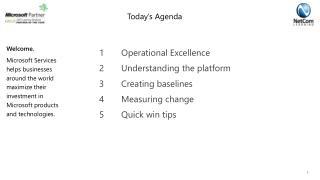 1Operational Excellence 2Understanding the platform 3Creating baselines 4 Measuring change
