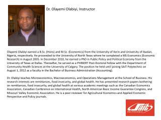Dr. Olayemi  Olabiyi, Instructor