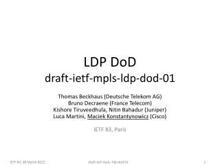 LDP  DoD draft -ietf-mpls- ldp-dod- 01