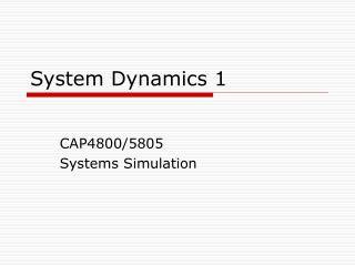 System Dynamics 1