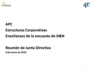 APC Estructuras  Corporativas Enseñanzas de la encuesta de D&N Reunión de Junta Directiva