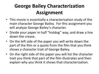 George Bailey Characterization Assignment