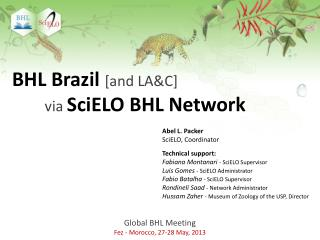Global BHL  Meeting Fez - Morocco, 27-28 May, 2013