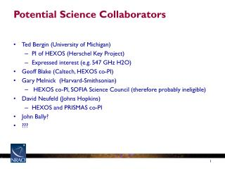 Potential Science Collaborators