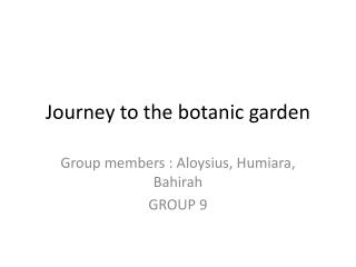 Journey to the botanic garden