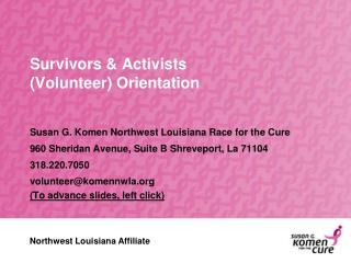 Survivors & Activists  (Volunteer) Orientation
