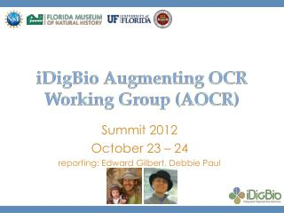 iDigBio Augmenting OCR Working Group (AOCR)
