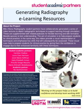 Generating Radiography  e-Learning Resources