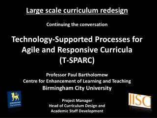 Large scale curriculum redesign Continuing the conversation