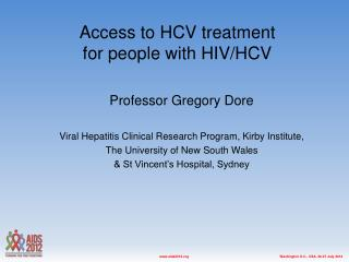 Access to HCV treatment  for people with HIV/HCV