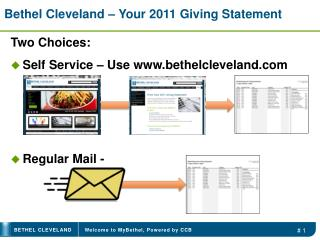 Bethel Cleveland – Your 2011 Giving Statement