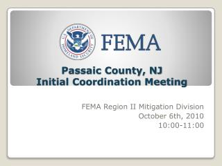 Passaic County, NJ  Initial Coordination Meeting