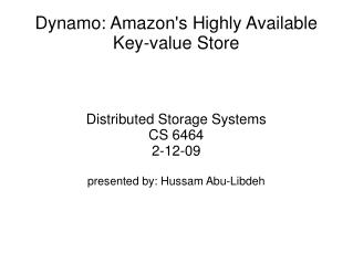 Dynamo: Amazons Highly Available Key-value Store