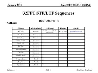 32FFT STF/LTF Sequences