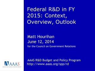 Federal R&D in FY 2015: Context, Overview, Outlook