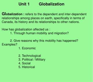 Unit 1        Globalization