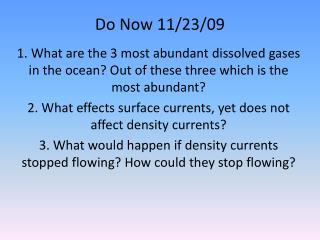 Do Now 11/23/09