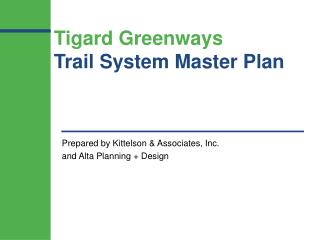 Tigard Greenways Trail System Master Plan