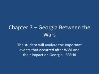 Chapter 7 – Georgia Between the Wars
