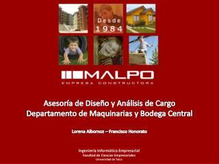 Asesoría de Diseño y Análisis de Cargo  Departamento de Maquinarias y Bodega Central
