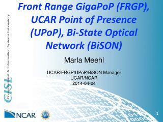 Front Range GigaPoP (FRGP), UCAR Point of Presence (UPoP), Bi-State Optical Network (BiSON)