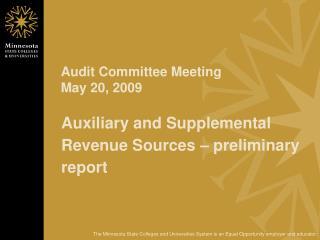 Audit Committee Meeting May 20, 2009