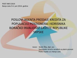 POST INFO 2014 Banja Luka 5-6 .  juni 2014.  godine