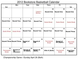 2012  Bookstore Basketball Calendar