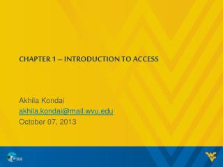 CHAPTER 1  –  INTRODUCTION TO ACCESS