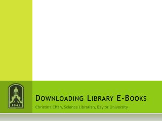 Downloading Library E-Books
