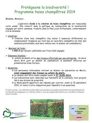 Protégeons la biodiversité ! Programme haies champêtres 2014