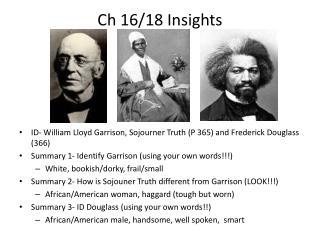 Ch 16/18 Insights