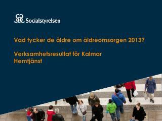 Vad tycker de äldre om äldreomsorgen 2013? Verksamhetsresultat för Kalmar Hemtjänst