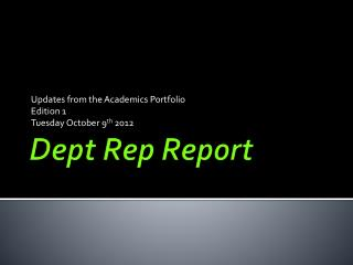 Dept Rep Report