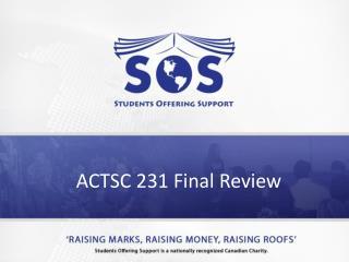 ACTSC 231 Final Review