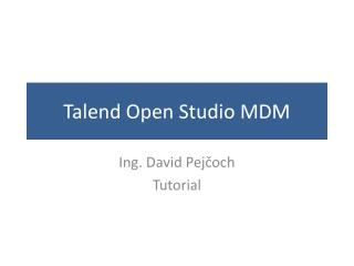 Talend Open  Studio MDM