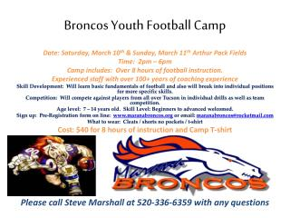 Broncos Youth Football Camp