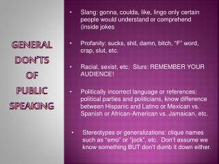 General  Don'ts  of  Public  Speaking