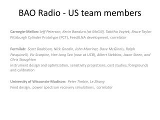 BAO Radio  -  US team members
