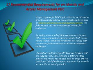 17 Recommended Requirements for an Identity and Access Manag