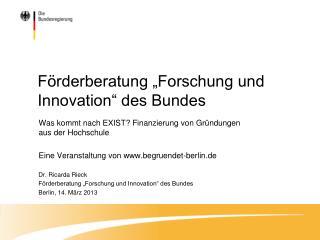 "Förderberatung ""Forschung und Innovation"" des Bundes"