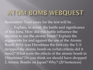 Atom Bomb Webquest