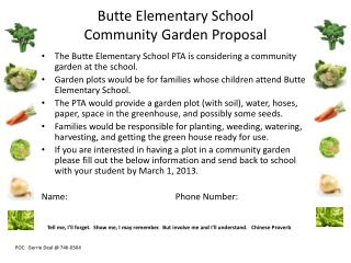 Butte Elementary School Community Garden Proposal