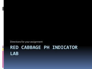 Red Cabbage pH Indicator Lab