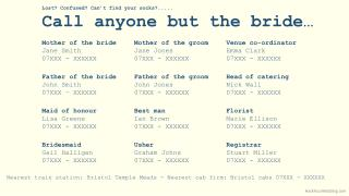 Lost? Confused? Can't find your socks?..... Call anyone but the bride…