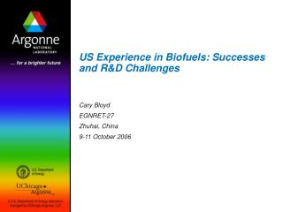 US Experience in Biofuels: Successes and RD Challenges