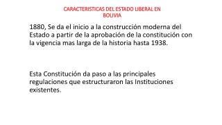 CARACTERISTICAS DEL ESTADO LIBERAL EN BOLIVIA