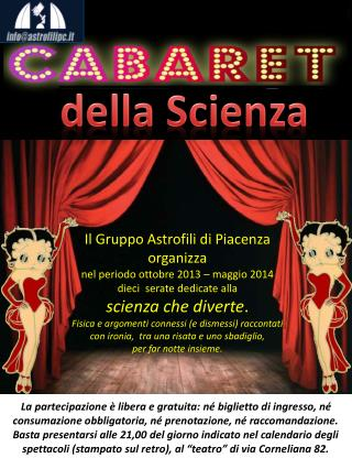 Il Gruppo Astrofili di Piacenza  organizza  nel periodo ottobre 2013 – maggio 2014